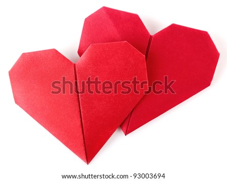 pair valentine origami isolated on white background - stock photo