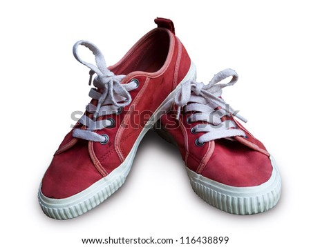 Pair vintage red shoes on white background - stock photo