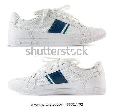 Pair white of sport shoes and Blue bar design isolated on white background. Save Path for design work - stock photo