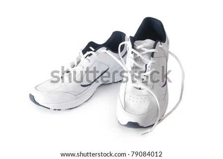 Pair white of trainers on isolated background - stock photo