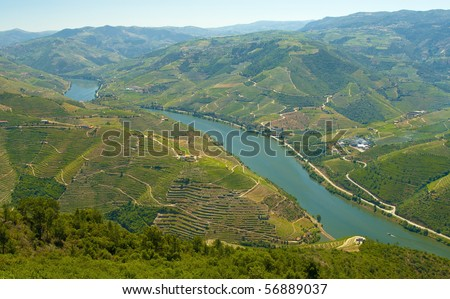 Paisagem alto douro. Sao Leonardo mount, Galafura, Portugal. - stock photo