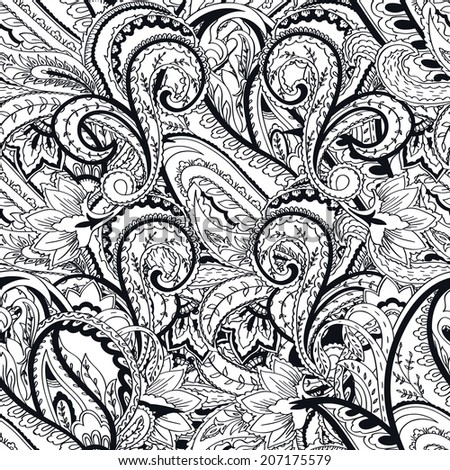 Paisley background. Seamless  monochrome pattern - stock photo