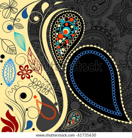 Paisley floral background. Vector file also available in my gallery - stock photo