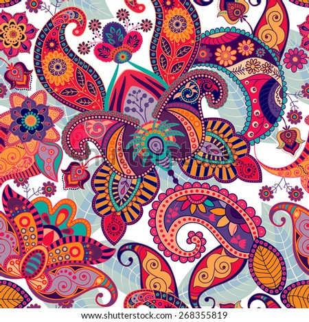 Paisley seamless pattern. Floral background - stock photo