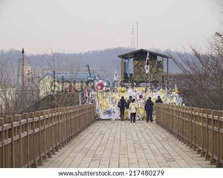 PAJU, SOUTH KOREA -MAR 27: Bridge of Freedom in Imjingak DMZ (Demilitarized zone) on Mar 27, 2012 in Paju, South Korea. This is the only one bridge connected between South and North Korea. - stock photo