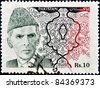 PAKISTAN-CIRCA 1994:A stamp printed in PAKISTAN shows image of Muhammad Ali Jinnah was a 20th century lawyer, politician, statesman and the founder of Pakistan, circa 1994. - stock photo