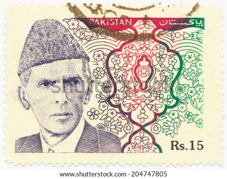 PAKISTAN - CIRCA 1994: A stamp printed in Pakistan shows portrait of Muhammad Ali Jinnah (1876-1948) was a lawyer, politician, founder of Pakistan, circa 1994 - stock photo