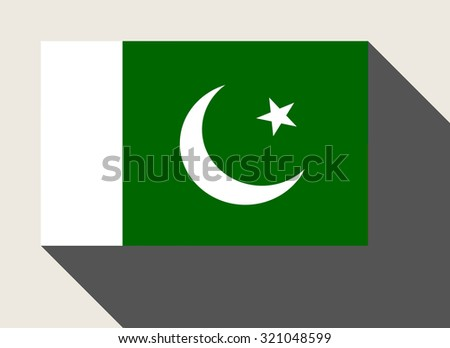 Pakistan flag in flat web design style. - stock photo
