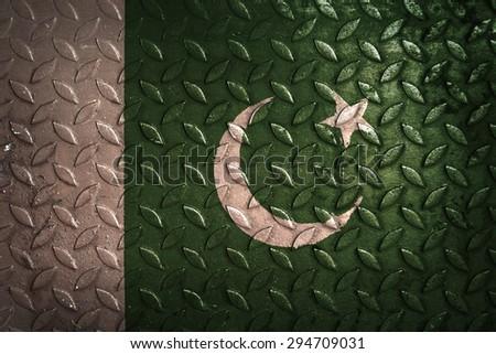 pakistan flag,metal texture - stock photo