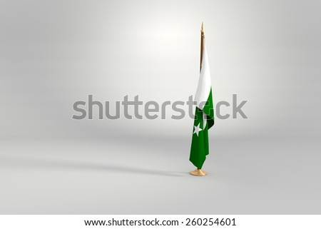 Pakistan flag on a brown and golden wooden mast 3d illustration - stock photo