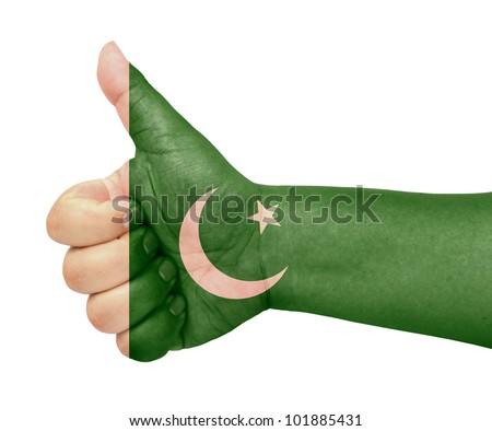 Pakistan flag on thumb up gesture like icon - stock photo