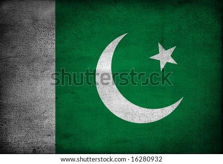 Pakistan flag on vintage paper - stock photo
