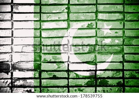 Pakistan Flag painted on brick wall  - stock photo
