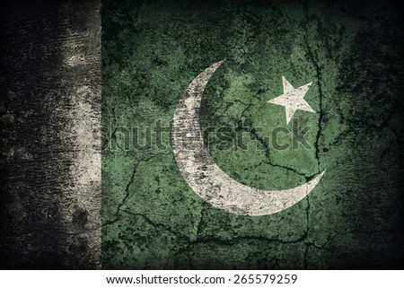 Pakistan flag pattern on dirty old concrete wall texture ,retro vintage style - stock photo