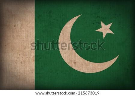 Pakistan flag pattern on the fabric texture ,retro vintage style - stock photo