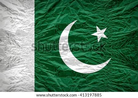 Pakistan flag pattern overlay on floyd of candy shell, vintage border style - stock photo