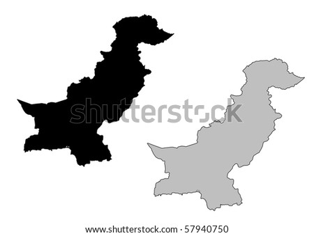 Pakistan map. Black and white. Mercator projection. - stock photo