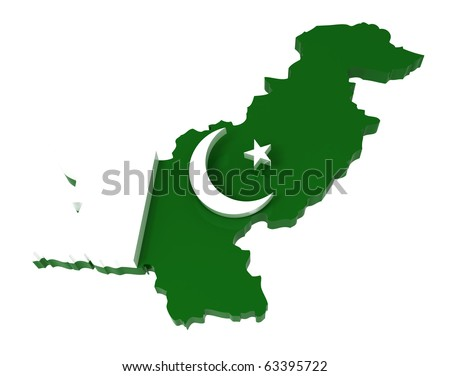 Pakistan, map with flag, clipping path included, 3d illustration, isolated on white - stock photo