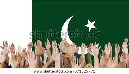 Pakistan National Flag Group of People Concept - stock photo