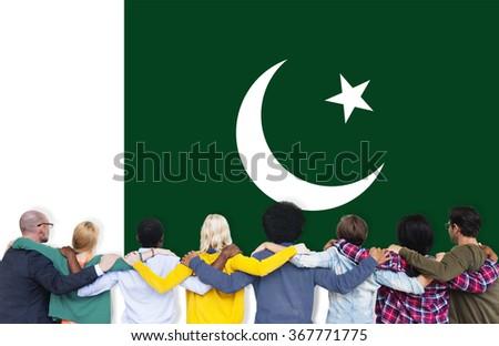 Pakistan National Flag Teamwork Diversity Concept - stock photo