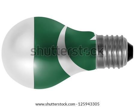 Pakistan. Pakistani flag painted on lightbulb - stock photo