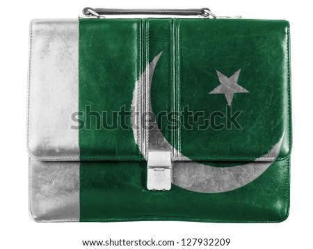 Pakistan. Pakistani flag painted on small briefcaseor leather handbag - stock photo