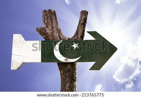 Pakistan wooden sign on a beautiful day - stock photo