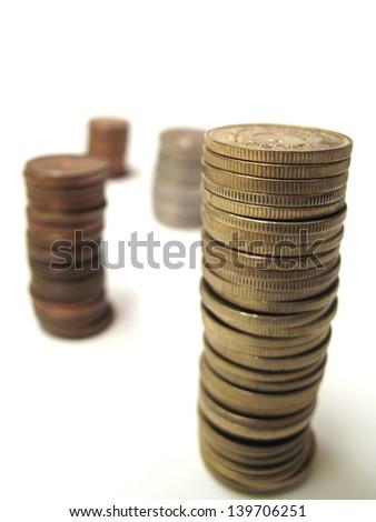 Pakistani coins showoing profit and lose through column - stock photo
