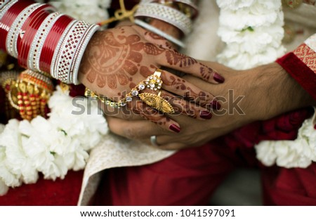Mehndi Bride And Groom : Pakistani indian bride groom holding hands stock photo safe to