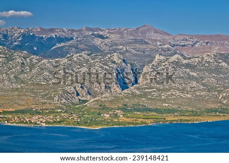 Paklenica canyon National park view on Velebit mountain in Croatia - stock photo