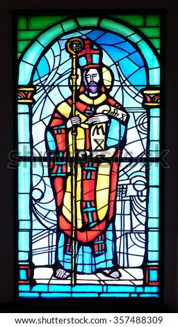 PAKRAC, CROATIA - MAY 07: Saint Methodius, stained glass window in the Church of the Assumption of the Blessed Virgin Mary in Pakrac, Croatia on May 07, 2015 - stock photo
