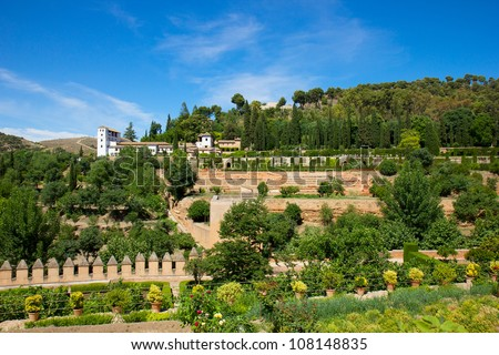 palace and gardens of Generalife  in Alhambra, Granada, Spain - stock photo