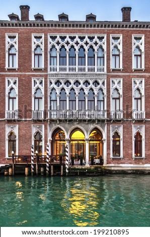 Palace at dusk in Venice, Italy - stock photo