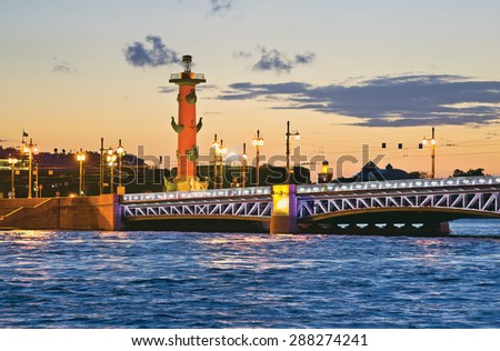 Palace Bridge and Rostral Column. White night in St.-Petersburg, Russia - stock photo
