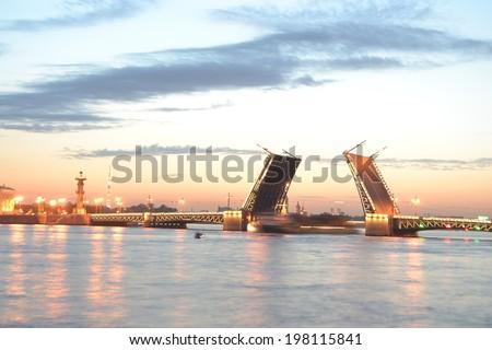 Palace Bridge at dawn, St.Petersburg, Russia. - stock photo