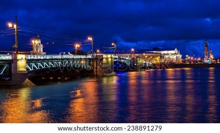 Palace Bridge in St. Petersburg, Russia - stock photo