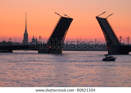 Palace bridge on the Neva River at night, St. Petersburg, Russia. - stock photo