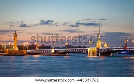 Palace bridge, Peter and Paul Cathedral at night. Saint Petersburg