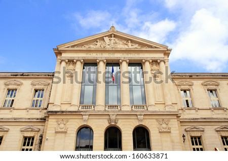 Palace de Justice, the imposing law courts built in neoclassical style in 1885, Nice, France.  - stock photo