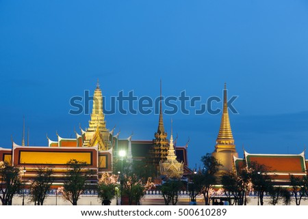 Palace during the night. Sights and attractions in Thailand.