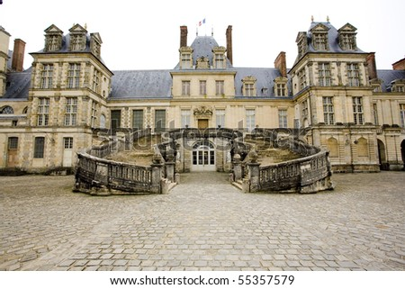 Palace Fontainebleau, Ile-de-France, France - stock photo