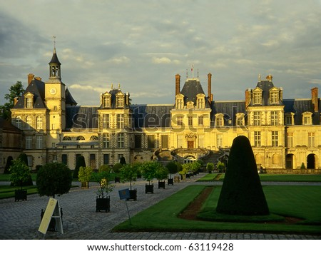 Palace Fontainebleau, Ile-de-France, France, UNESCO - stock photo