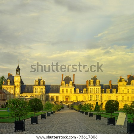 Palace Fontainebleau, Ile-de-France, France, World Heritage Site by UNESCO - stock photo
