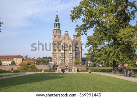 Palace Frederiksborg Slot, palace in Hillerod, Denmark - stock photo