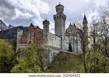 Palace in Bavaria, Germany. Castle Neuschwanstein - stock photo