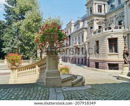 Palace in neo-baroque style of textile entrepreneur - Israel Poznanski - in Lodz, Poland - stock photo