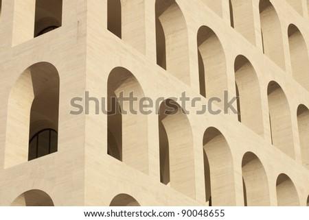 Palace of civilization and work in Rome (E.U.R. zone) - squared coliseum - stock photo