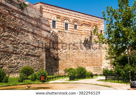 Palace of Constantine (Tekfur Sarayi), heritage of the Byzantine Empire in Constantinople. Now the city Istanbul, Turkey. View after restoration - stock photo