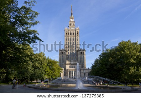 Palace of Culture and Science in Warsaw, Poland - stock photo