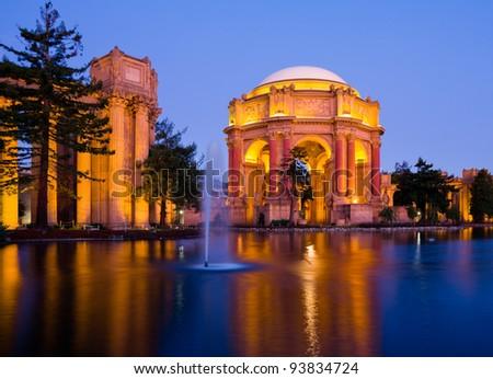 Palace of fine Arts at night in San Francisco - stock photo